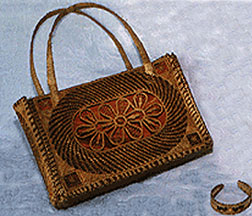 Pine Needle Handbag and Bracelet by Mary Behrman